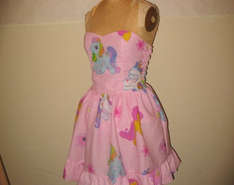 Custom Made to order My little Pony Dress Sweet Heart Halter Strapless Smocked Ruffled Mini Dress
