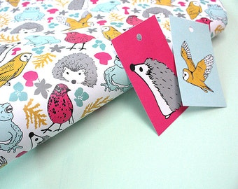 Wrapping Paper Set - Woodland animals illustrated wrapping paper and gift tags