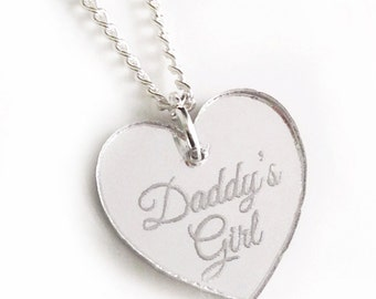 Daddy's Girl Necklace - Silver Heart