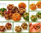 Small Beaded Bead Disc Pairs - autumn holiday red green gold brown orange