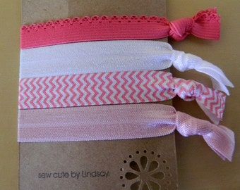 Elastic Hair Ties - Ponytail Holder/Bracelet - Pretty in Pink - Hot Pink Lace, White, Pink Chevron, Light Pink