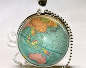 Vintage Globe Necklace Planet Earth World Map Art Pendant with Ball Chain Included