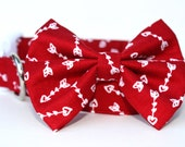 Valentines Dog Collar and Bow Tie  / Arrow Dog Collar / Bow Tie Dog Collar / Red Dog Collar / Dog Collar with Hearts and Arrows