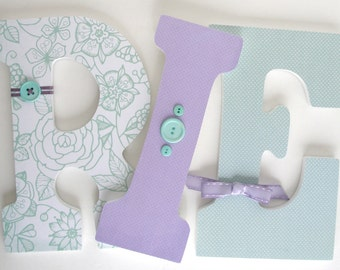 Wooden Letters for Baby Girl Nursery - Aquamarine and Lavender - Hanging Wall Letters
