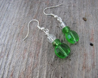 Green and Clear Glass Beaded Earrings