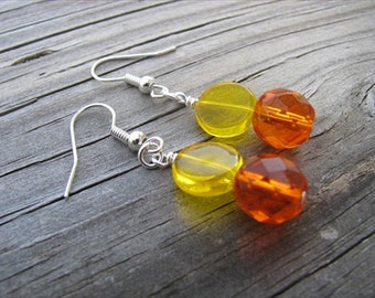 Orange and Yellow Beaded Earrings