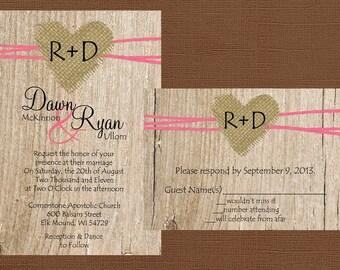 Rustic Wedding Invitation, Burlap Wedding Invitation, Heart Wedding Invitation, Country Wedding Invitation