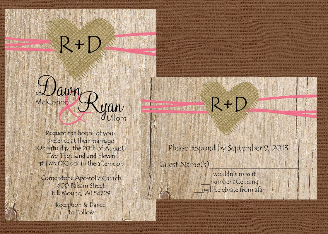Wedding Invitations With Burlap: DIY Rustic Wedding Invitation Burlap Wedding Invitation