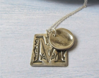 Fingerprint Jewelry, Silver Fingerprint And Monogram Necklace, Remembrace Jewelry, Memorial Necklace