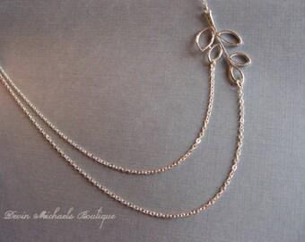Silver Leaf Double Strand necklace, Leaf pendant, Multi Strand Leaf Necklace