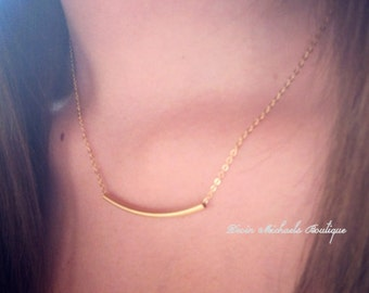 Wear with Everything Necklace, Gold Tube Necklace, Gold Choker, Gold jewelry