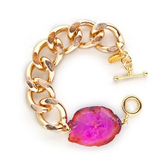 Athena Bracelet - Gold Chunky Chain Link with Pink Agate