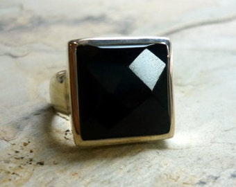Sterling Silver and Onyx Ring, Silver and Stone Ring, Square Ring, Black Stone Ring, Statement Ring, Onyx Natural Gemstone, Black and Silver