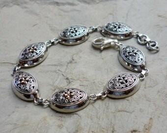 Sterling Silver and Rose Gold Bracelet, Silver Filigree Bracelet, Silver and Rose Gold Links Bracelet, Statement Silver Bracelet, Rose Gold
