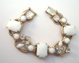 Vintage Delizza and Elster white  glass chicklet and rhinestone bracelet