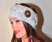 Knitted Headband Crochet Headband Cabled Head wrap Button Earwarmer CHOOSE COLOR Oatmeal Off White Beige Eco Neutral Nature Christmas Gift