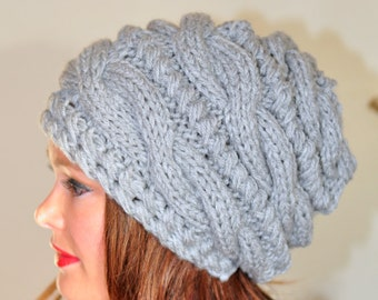 Women Hat Slouchy Beanie Slouch Hats Oversized Baggy CHOOSE COLOR  Gray Cabled Hat Winter Grey Heather Hand Knit Gift