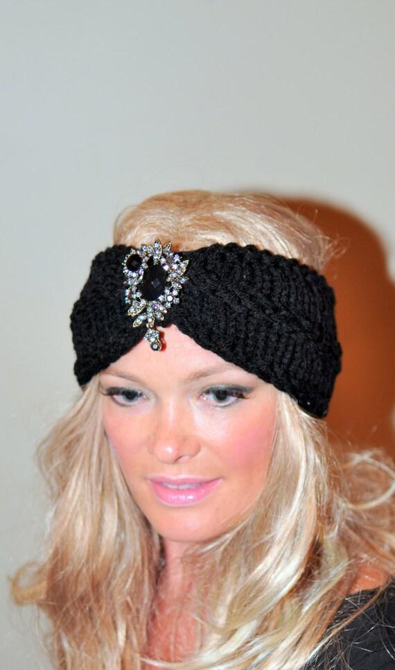 Beaded Headband Brooch Turban Black Knitted Ear Warmer Crochet Headband Vintage Headwrap Girly Romantic Headband Gift under 50