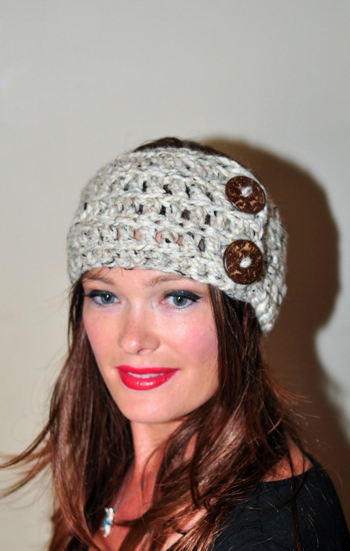 Crochet Headband Earwarmer Buttons Head wrap Crochet by ...