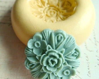 Victorian Rose Bouquet - Flexible Silicone Mold - Push Mold, Jewelry Mold, Polymer Clay Mold, Resin Mold, Craft Mold, Food Mold, PMC Mold