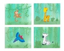 Safari Print Set - Zoo Nursery - Monkey, Giraffe, Macaw, & Zebra Prints - Jungle Nursery Art