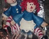Cake Topper Raggedy Ann and Andy Couple Personalized Custom Handmade Wedding or Birthday Keepsake Collectible