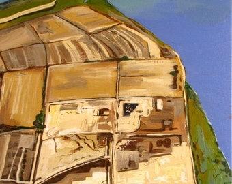Original Painting, Aerial Abstract view, Above Sonoma County, Modern, Bird eyes, Petaluma North Bay 18x24, Free Shipping in USA.