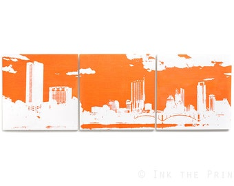 Austin Skyline Wall Art: 3 Piece Triptych (Orange and White) 3 x 1 Foot Cityscape Screen Print and Painting - Texas Home Decor