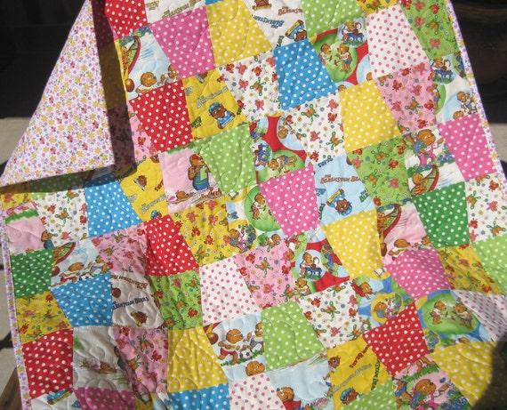 Berenstain Bears Girl Quilt, Tumbler Pattern, Baby Blanket, Pink Yellow Blue, Nursery Bedding,