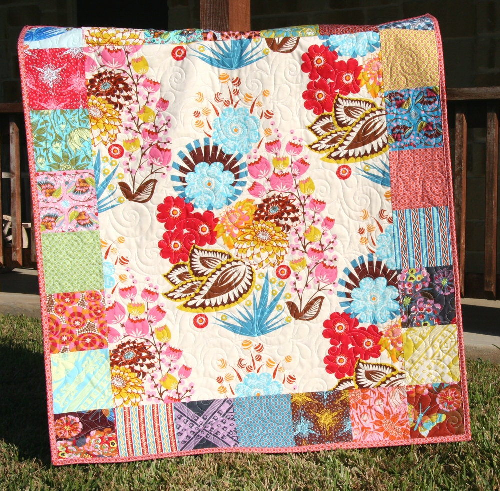 Modern Baby Quilt Loulouthi Bright Baby Girl Crib Blanket
