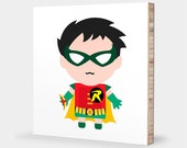 R for Robin : ABC Block Bamboo Wall Art Series // Alphabet Kids Wall Art Room Decor Superhero Sci-fi Batman