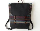 Multi color yarn stitch backpack / Laptop bag / Diaper bag / leather closure / front pocket,  Design by BagyBags