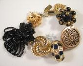 Vintage Earring Bracelet, Bridesmaid Gift, Upcycled, Black, Gold, Cluster, Enamel, Jennifer Jones, Under 40, Bulk Discount, OOAK - Leopard