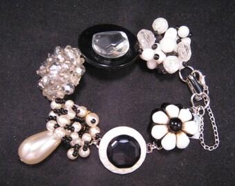 Bridesmaid Gift, Wedding Bracelet, Vintage Earring Bracelet, Upcycled, Jennifer Jones, White, Black, Pearl, Under 40, Gift Set - Black Tie