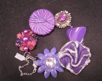 Vintage Earring Bracelet, Bridesmaid Gift, Upcycled, Purple, Grape, Silver, Cluster, Enamel Flower, Jennifer Jones, Under 40 - Ultra Violet