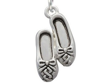 Silver Plated Ballet Slippers Charm, Qty.1