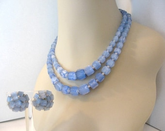 Vintage Glass Bead Necklace and Earrings Set -  Satin Blue Beaded Necklace and Earrings w/ Cabochon