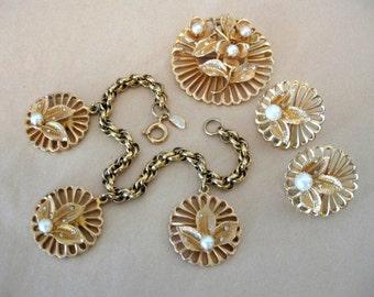 Vintage KRAMER of NY Jewelry Kramer Charm Bracelet, Earrings, Brooch Set - Rhinestone Faux Pearl