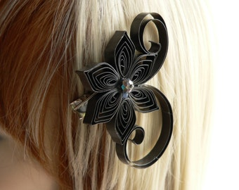 Charcoal Gray Wedding Wedding Hair Clip, Charcoal Wedding Hair Accessory