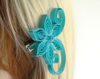 Aqua Blue Wedding Hair Clip,  Aquamarine Hair Clip for Wedding