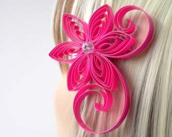Pink Hair Accessories Bridal, Hot Pink Wedding Hair Clip, Neon Pink Wedding Hair Accessory