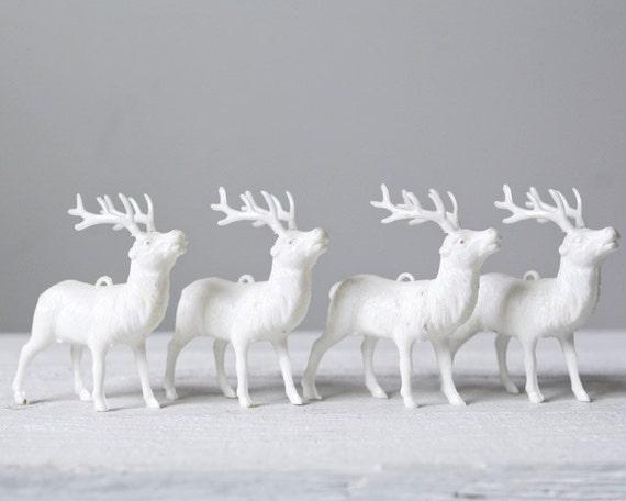 Vintage White Plastic Deer - Retro Winter Woodland Decor, Set of 4
