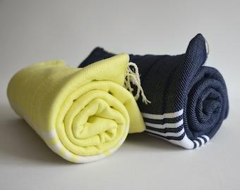 Free Shipment SET 2 Piece Turkish BATH Towel Handwoven Peshtemal - SOFT - Yellow and Navy Blue