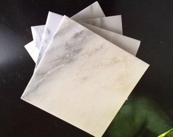"Carrara Marble Coasters 4"" x 4"" Stone, White, Drink Coasters, Glass Coasters, set of 4"