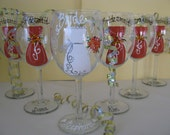 FIVE Hand Painted  Wedding  Bride Bridesmaid Mother of the Bride Wine Glasses Personalized