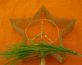 """Small Gold """"PEACE"""" Star Tree Topper"""
