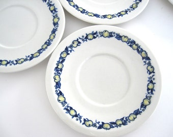 Vintage Villeroy Boch Cadiz Coffee Cup Saucers Set Blue White Yellow Apple German