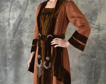 Edwardian Auburn Velvet Beaded Gown