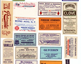 Vintage Apothecary labels pharmacy collage sheet Digital download Apothecary Labels 1