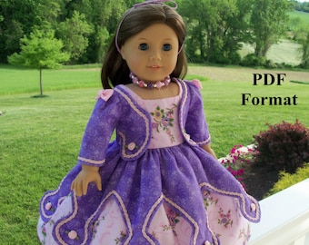 """PDF Pattern for American Girl Doll / Historical Evening Primrose Gown/  Sewing Pattern for 18"""" Dolls"""